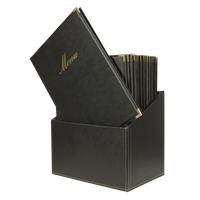 Securit Menubox Classic, A4, Zwart, incl. 20 menukaarten