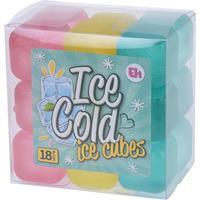 Merkloos 18x Plastic herbruikbare ijsklontjes/ijsblokjes gekleurd - Kunststof ijsblokjes - Verkoeling artikelen - Gekoelde drankjes maken