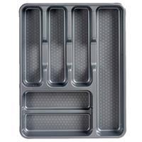 Kunststof Bestekbak/bestekhouder 6-vaks Grijs 38 X 30 Cm - Keukenlade/besteklade Inzetbakken
