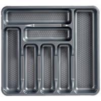Kunststof Bestekbak/bestekhouder 7-vaks Grijs 42 X 39 Cm - Keukenlade/besteklade Inzetbakken
