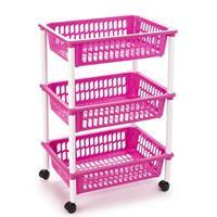 Opberg Trolley/roltafel/organizer Met 3 Manden 40 X 30 X 61,5 Cm Wit/roze- Etagewagentje/karretje Met Opbergkratten