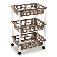 Opberg Trolley/roltafel/organizer Met 3 Manden 40 X 30 X 61,5 Cm Wit/taupe - Etagewagentje/karretje Met Opbergkratten