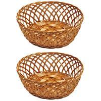 Merkloos 2x Gevlochten Fruitmanden/broodmanden Rond 28 X 11 Cm - Tafel Dekken - Fruitmand/fruitschalen - Broodmand