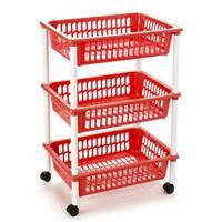 Forte Plastics Opberg Trolley/roltafel/organizer Met 3 Manden 40 X 30 X 61,5 Cm Wit/rood- Etagewagentje/karretje Met Opbergkratten