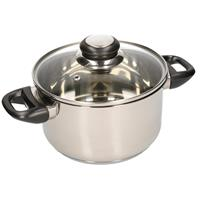 Merkloos Rvs Kookpan / Pan Met Glazen Deksel 20 Cm - Kookpannen / Aardappelpan - Koken - Keukengerei