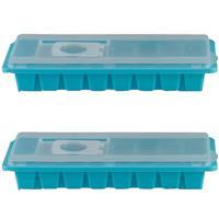 Merkloos 2x stuks iJsblokjes maken houders blauw met deksel 26 x 11 cm