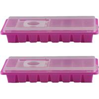Merkloos 2x stuks ijsblokjes maken houders fuchsia roze met deksel 26 x 11 cm