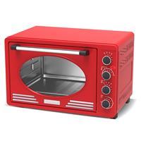 TurboTronic Ev45 Retro Rvs Elektrische Oven 45 Liter - Rood