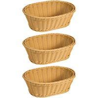 Merkloos 3x Gevlochten Fruitmanden/broodmanden Ovaal 24 X 32 X 11 Cm - Tafel Dekken - Fruitmanden/fruitschalen - Broodmanden