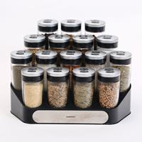 Decopatent Kruidenrek Incl. 16 glazen kruiden potjes - Rvs strooideksel - Staand Kruiden & Specerijen rek - Kruidenpotjes glas