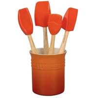 LE CREUSET Siliconen - Lepelpot met 4 Premium spatels Oran