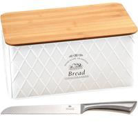 Merkloos Witte Metalen Broodtrommel Met Bamboe Snijplank Deksel En Rvs Broodmes 18 X 34 X 14 Cm - Brood Bewaarbak Met Kartelmes