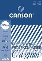 """Canson tekenblok """"C"""" à grain 224 g/m², ft 21 x 29,7 cm (A4)"""