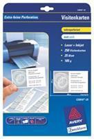 Avery Quick & Clean visitekaartje 85 x 54 mm. 185 g/m². perforatierand. C32010. Inkjet (pak 250 stuks)