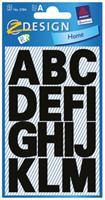 Avery etiketten letters A-Z groot, 2 blad, zwart, waterbestendige folie