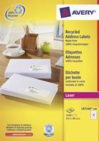 Avery Etiket  LR7160-100 63.5x38.1mm recycled wit 2100stuks