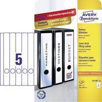 Avery Zweckform Avery-Zweckform L4758-10 Etiketten (A4) 38 x 297 mm Papier Wit 50 stuks Permanent Ordneretiketten Inkt, Laser, Kopie