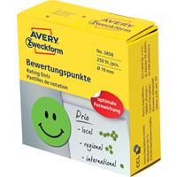 Avery rating dots, diameter 19 mm, rol met 250 stuks, smiley, groen