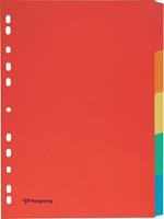 Pergamy tabbladen ft A4, 11-gaatsperforatie, karton, geassorteerde kleuren, 5 tabs
