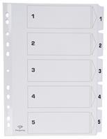 Pergamy tabbladen met indexblad, ft A4, 11-gaatsperforatie, karton, set 1-5