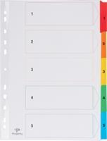 Pergamy tabbladen met indexblad, ft A4, 11-gaatsperforatie, geassorteerde kleuren, set 1-5