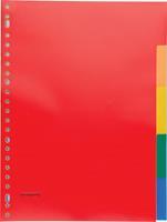 Pergamy tabbladen, ft A4, 23-gaatsperforatie, PP, 5 tabs in geassorteerde kleuren