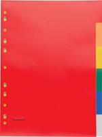 Pergamy tabbladen, ft A4, 11-gaatsperforatie, PP, 6 tabs in geassorteerde kleuren