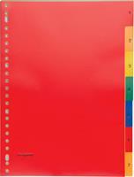 Pergamy tabbladen, ft A4, 23-gaatsperforatie, PP, geassorteerde kleuren, set 1-7
