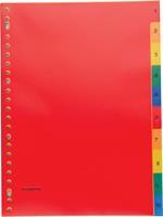 Pergamy tabbladen, ft A4, 23-gaatsperforatie, PP, geassorteerde kleuren, set 1-10