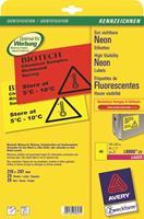 Avery afneembare neon etiketten ft 210 x 297 mm (b x h), doos van 25 blad, 25 stuks, neongeel