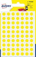 Avery PSA08J ronde markeringsetiketten, diameter 8 mm, blister van 490 stuks, geel