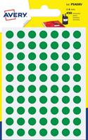 Avery PSA08V ronde markeringsetiketten, diameter 8 mm, blister van 490 stuks, groen