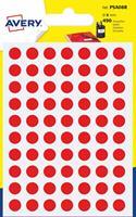 Avery PSA08R ronde markeringsetiketten, diameter 8 mm, blister van 490 stuks, rood