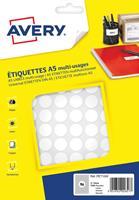 Avery PET15W ronde markeringsetiketten, diameter 15 mm, blister van 1536 stuks, wit