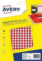 Avery PET08R ronde markeringsetiketten, diameter 8 mm, blister van 2940 stuks, rood
