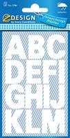 Avery Etiketten cijfers en letters A-Z groot, 2 blad, wit, waterbestendige folie