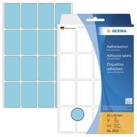 herma Multifunctionele Etiketten 2453 Blauw Rechthoekig 25 x 40 mm 32 Vellen van 16 Etiketten