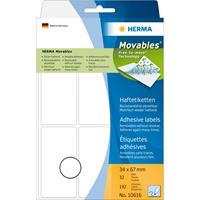 herma Multifunctionele Etiketten 10616 Wit Rechthoekig 34 x 67 mm 32 Vellen van 6 Etiketten