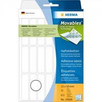 herma Multifunctionele Etiketten 10606 Wit Rechthoekig 13 x 50 mm 32 Vellen van 21 Etiketten