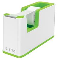 leitz WOW Plakbandhouder Duokleur + Beschrijfbare Zelfklevend Plakband 19mm x 33m Wit, Groen