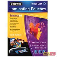 Fellowes ImageLast 80 micron lamineerhoes glanzend A4-25pk. Kleur van het product: Transparant, Materiaal: Kunststof, Oppervlakteafwerking: Glanzend. Breedte: 210 mm, Diepte: 1 mm, Hoogte: 297 mm. Aan
