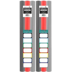 Benza Assortiment Kaftpapier Voor Schoolboeken - Lichtgrijs, Donkergrijs, Rood - 200 X 70 Cm - 6 Rollen