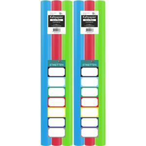 Benza Assortiment Kaftpapier Voor Schoolboeken - Lime Groen, Turquoise, Rood - 200 X 70 Cm - 6 Rollen