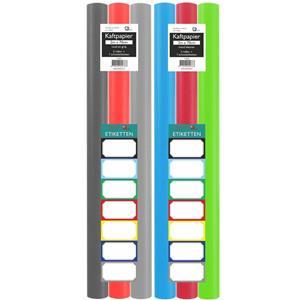 Assortiment Kaftpapier Voor Schoolboeken - Lime Groen, Turquoise, Lichtgrijs, Donkergrijs, Rood - 200 X 70 Cm - 6 Rollen
