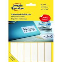 Avery Etiket Zweckform 76X19Mm Wit Pakje A 324 Etiketjes