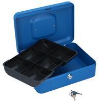 Lock-Down geldkist - met muntenbakje - blauw - 25x18x9