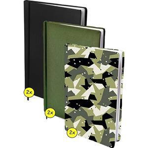 Benza Assortiment Rekbare Boekenkaften A4 - 2x Army Dots - 2x Zwart - 2x Groen