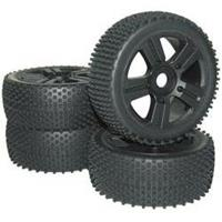 Reely 1:8 Buggy Complete wielen Spike 5-spaaks Zwart 4 stuks