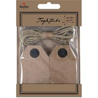 40x Cadeau tags/labels kraftpapier/karton aan jute touw 7 cm Bruin