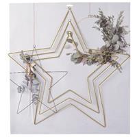 3x DIY stervormige eucalyptus/bloemen krans/hangers set goud Zwart
